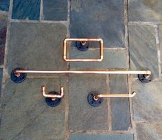Industrial Bathroom Accessories Set PC Copper Pipe Towel Bar - Industrial bathroom hardware