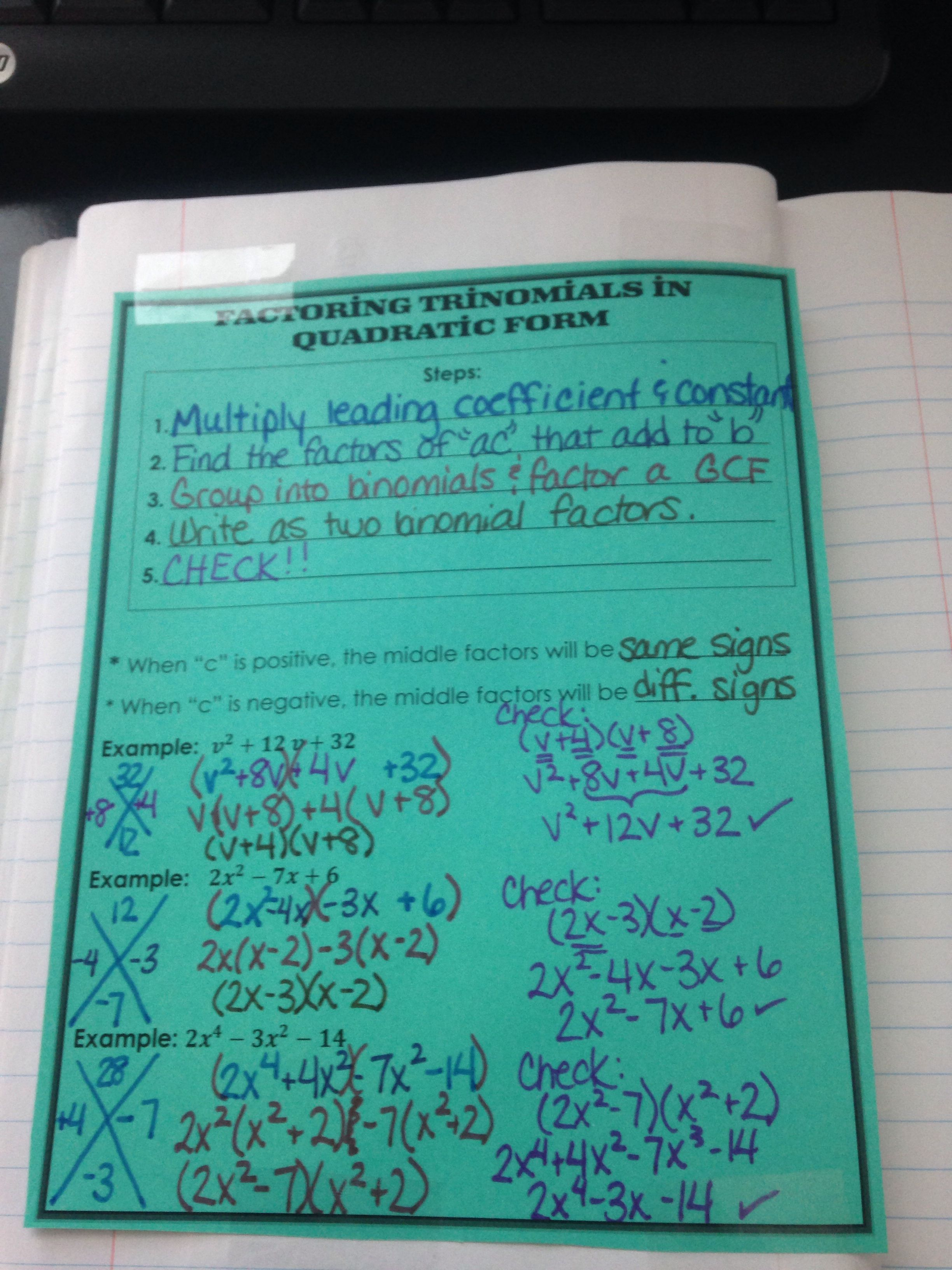 Factoring Trinomials In Quadratic Form