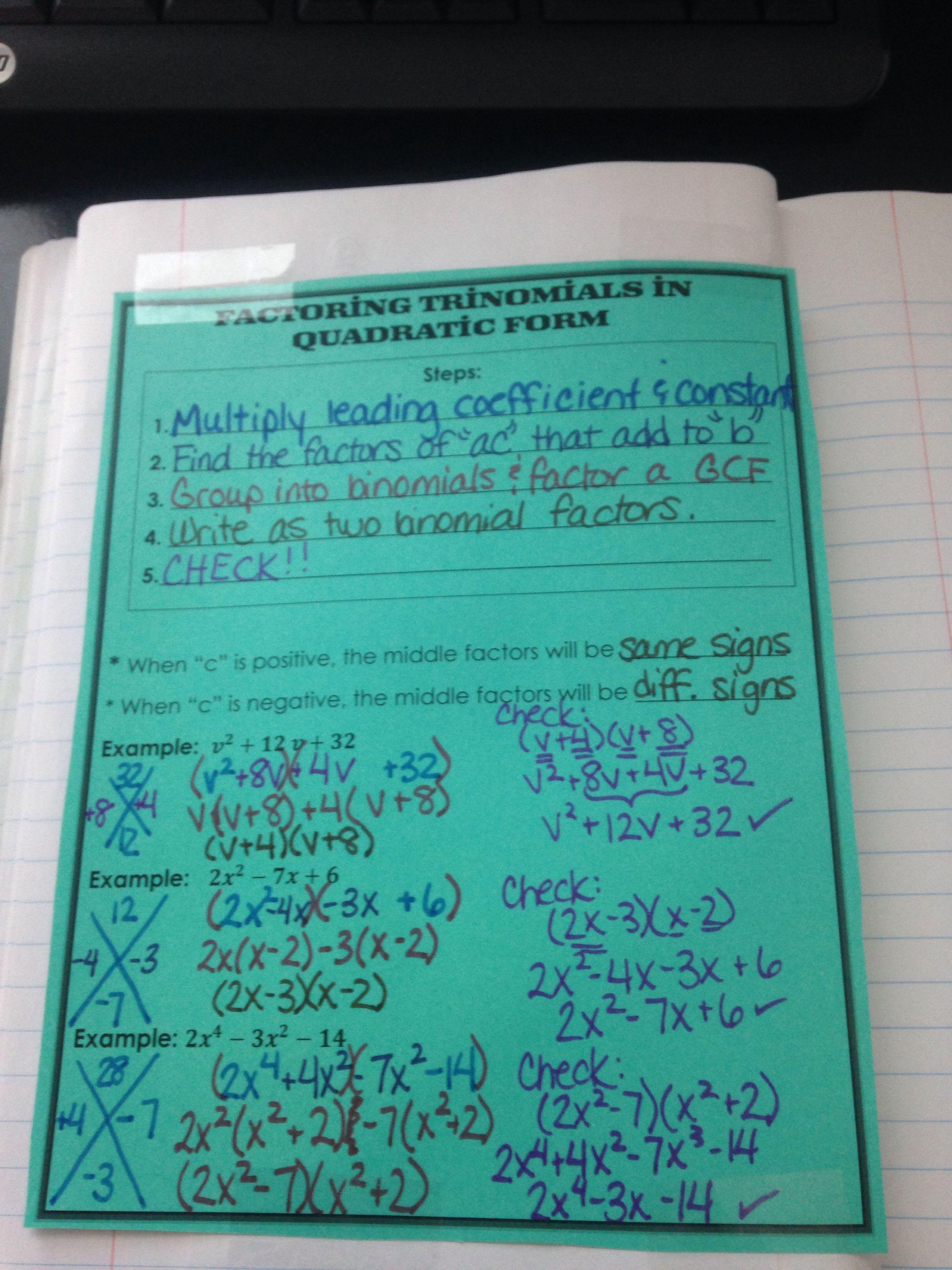 Factoring Trinomials In Quadratic Form