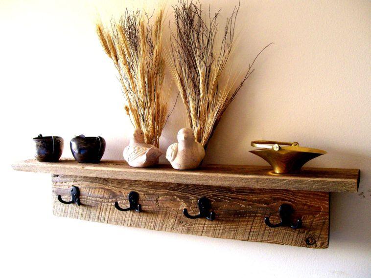 Rustic Wood Wall Hung Coat Hanger With Shelf And Black Iron Hook As Beauteous Wooden Coat Racks Wall Mounted Uk