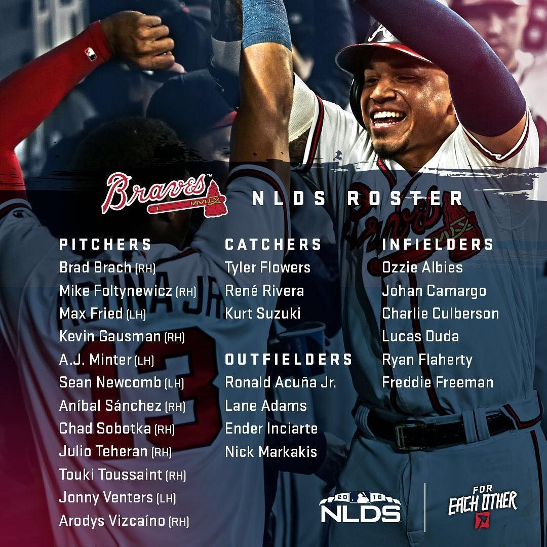 The 2018 Nlds Roster Foreachother Atlanta Braves Braves Atlanta