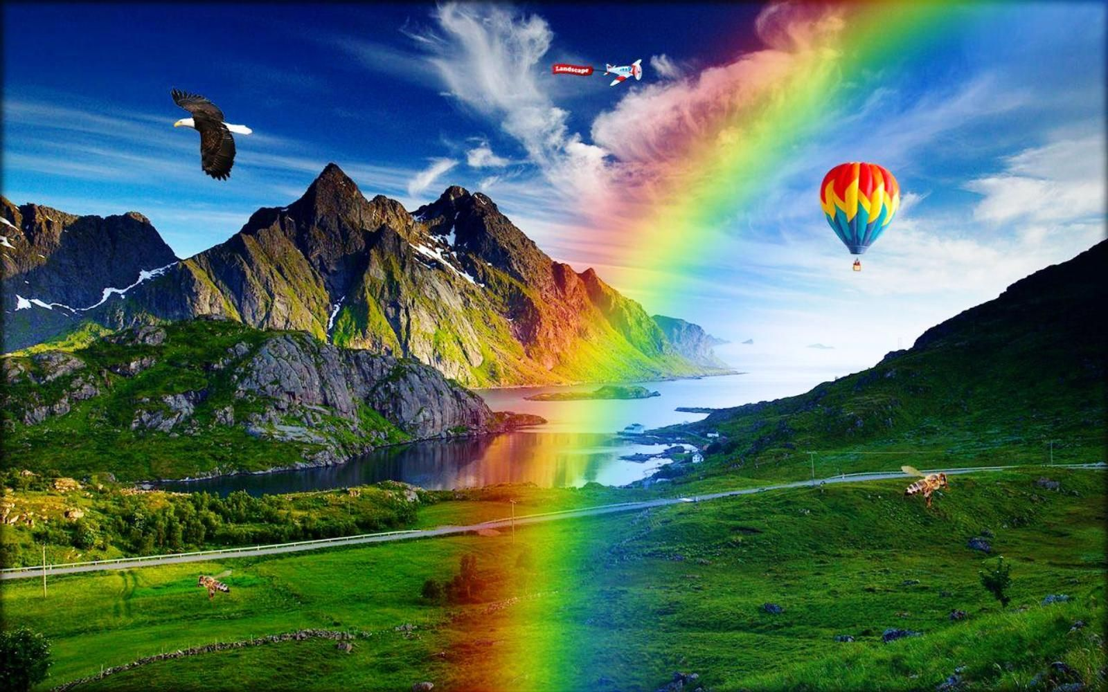 Air Balloon Rainbow Mountains Nature Wallpaper Wallpapers Hd Hd Nature Wallpapers Beautiful Nature Wallpaper Nature Wallpaper