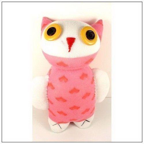 Handmade Sock Owl Stuffed Animal Doll Baby By Supersockmonkeys