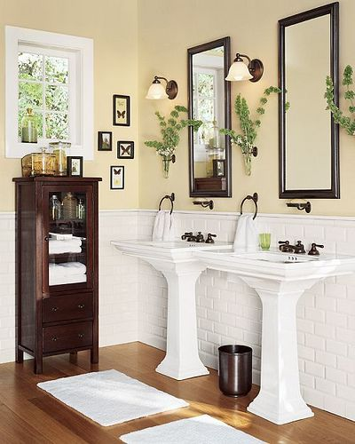 Bath Dual Pedestal Sinks Yellow Bathrooms Yellow Bathroom Walls