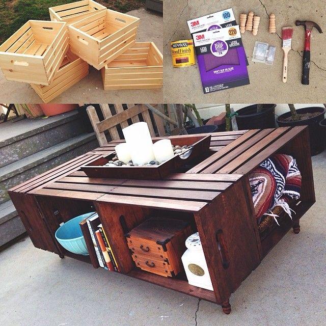 Diy Crate Coffee Table Mesas De Cafe De Cajas Renovacion De Muebles Muebles Con Cajones