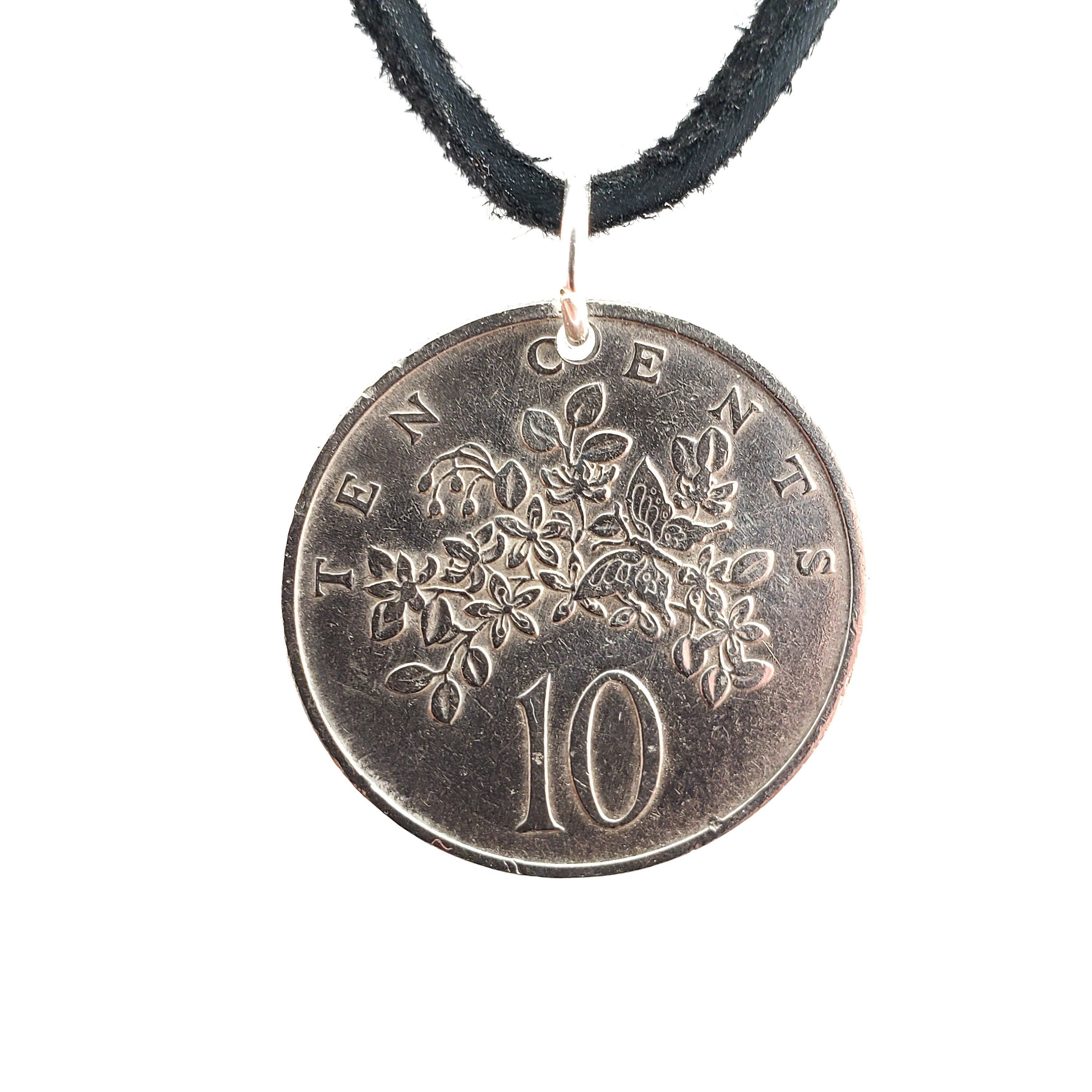 1969 Jamaica Coin Necklace, Butterfly Coin, 10 Cents, Coin Pendant, Leather Cord, Mens Necklace, Womens Necklace