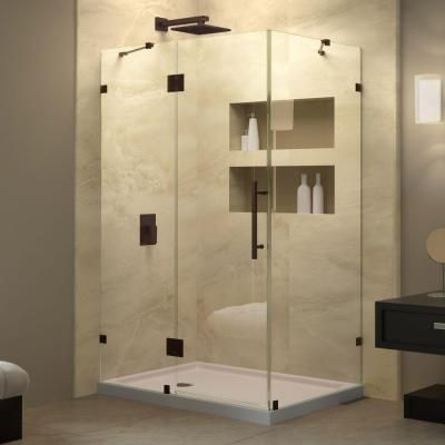 Latest DreamLine QuatraLux 32 1 4 in x 46 5 16 in x 72 in Hinge Shower Enclosure in Oil Rubbed Bronze SHEN 06 The Home Depot In 2019 - Review bathtub glass enclosure Picture