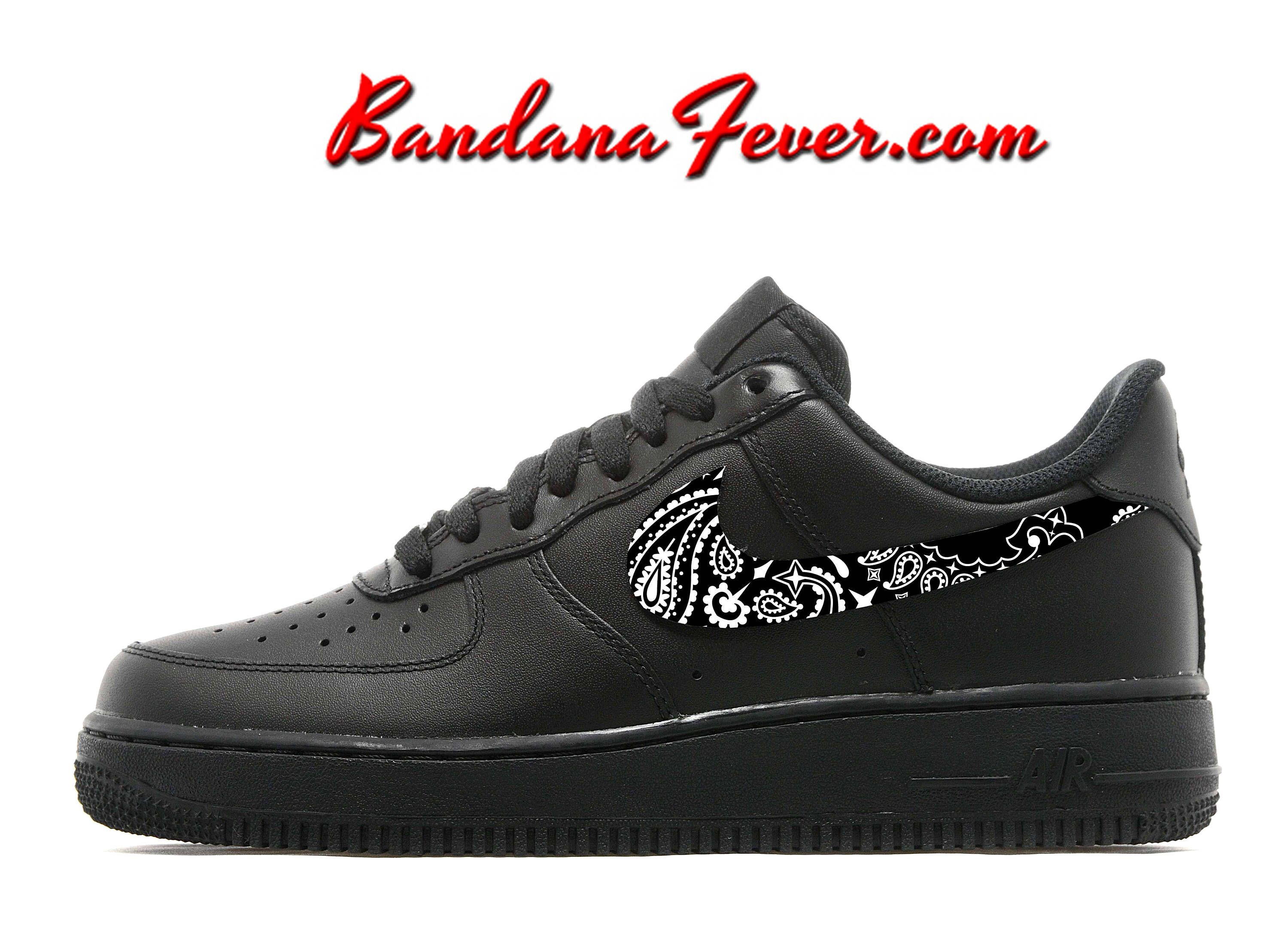 great fit 735a0 0dae5 Custom Black Bandana Nike Air Force 1 Shoes Black Low, FREE SHIPPING,   paisley,  bandanna,  Nike  running,  nikeair,  Shoes by Bandana Fever by  ...