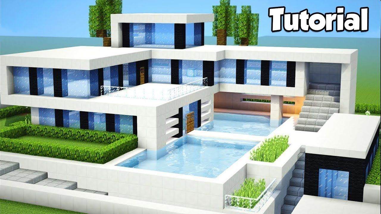 Minecraft: How to Build a Large Modern House - Tutorial (#8