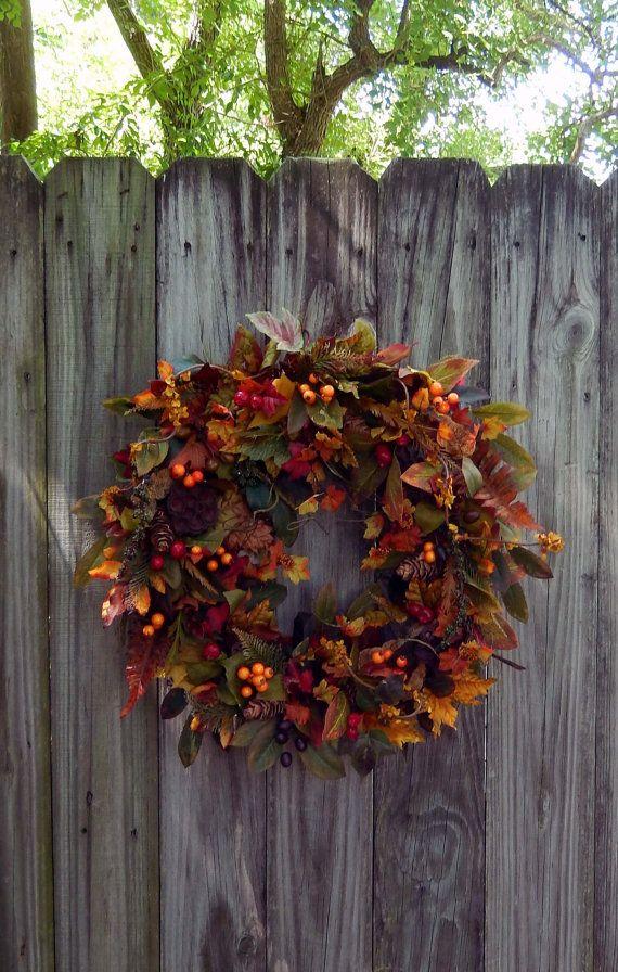 enchanted forest fall wreath autumn wreath wreath for the door outdoor wreath fall door wreath on etsy 106 89 cad