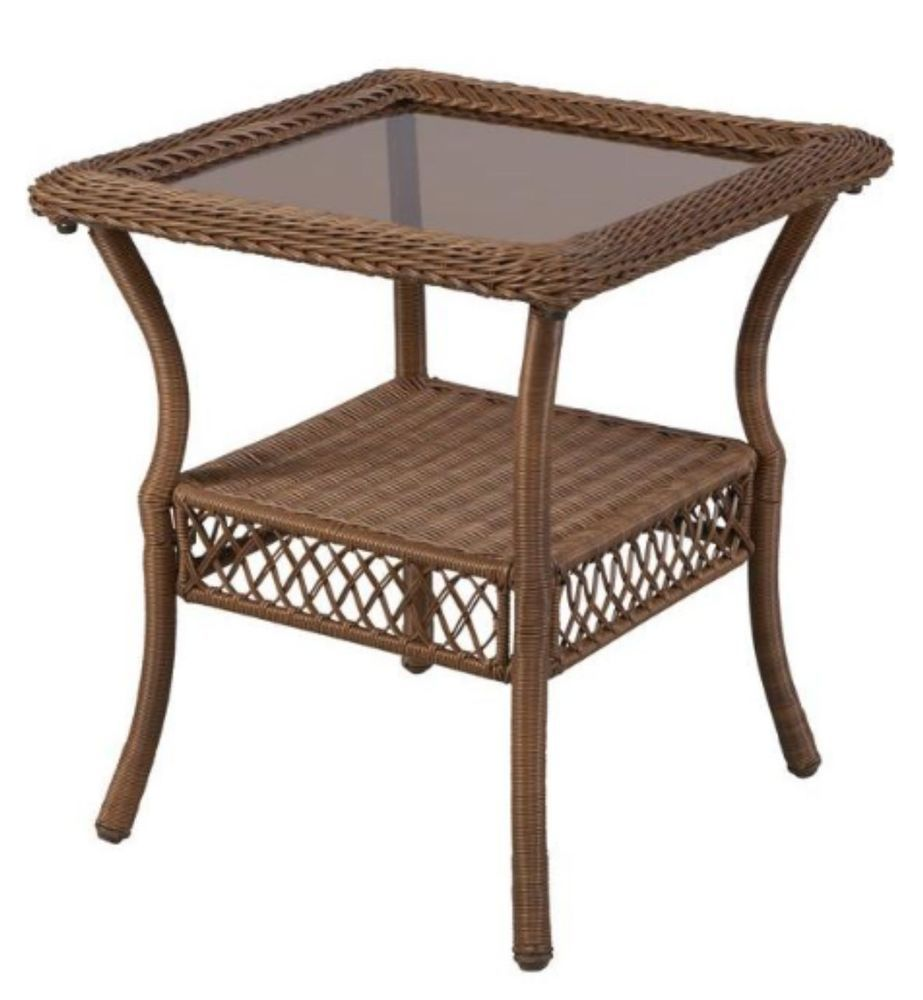 "All Weather Wicker Patio Garden Side Table Glass Top Square 22"" x 20"