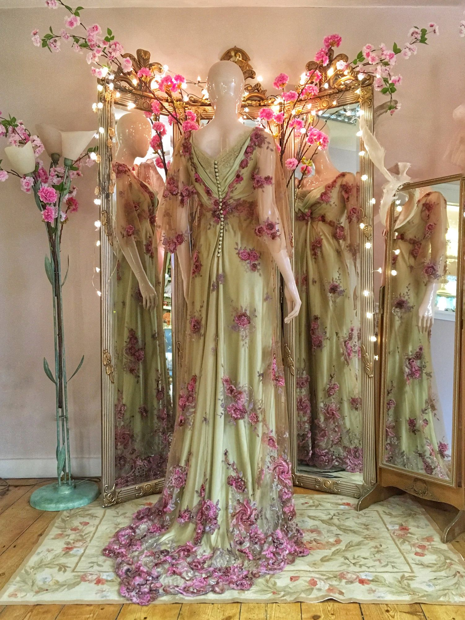 8b6e155be06  Floral  embroidered  tulle  BelleEpoque inspired  colourful  wedding or   evening  dress by Joanne Fleming Design