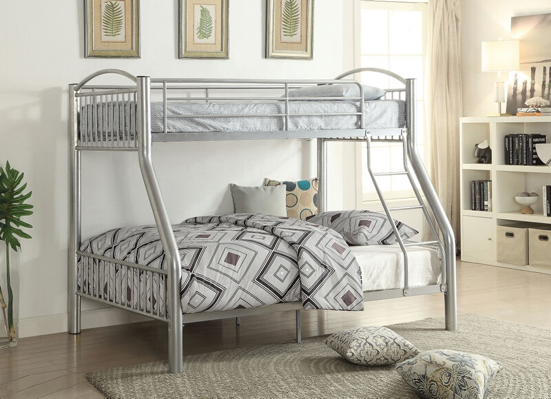 Acme 37380si Cayelyn Silver Finish Metal Frame Twin Over Full Bunk
