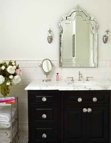 Gorgeous Bathroom Design With Venetian Mirror Ebony Stained Single Cabinet Calcutta Marble Countertop Gl S Waterworks Etagere