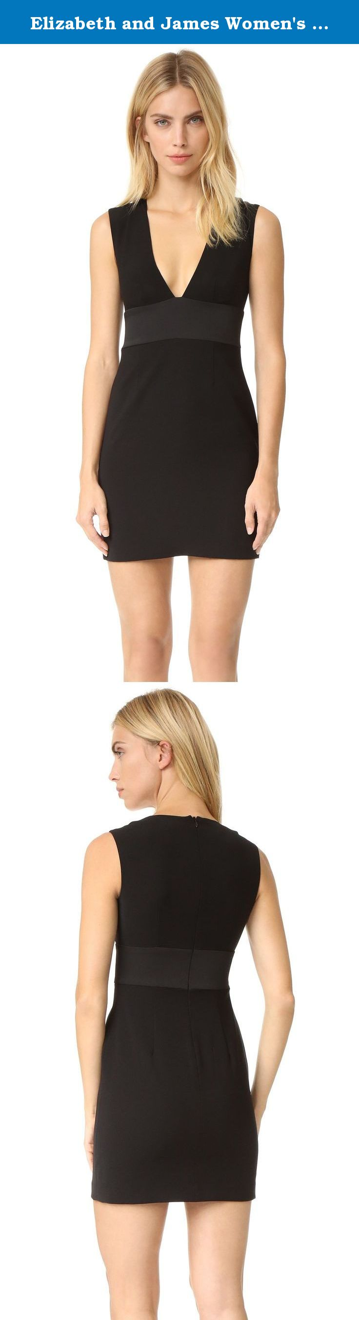 Elizabeth and James Women's Maya Dress, Black, 12. An inside-out panel defines the waist of this simple Elizabeth and James sheath dress, and the plunging neckline adds sultry style. Hidden back zip. Lined.