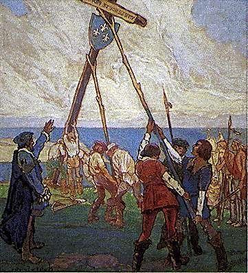 24 juillet 1534 Jacques Cartier plante une croix avec le blason du roi François 1er à Gaspé https://t.co/PQQaAMz7jp https://t.co/az42fzHshR