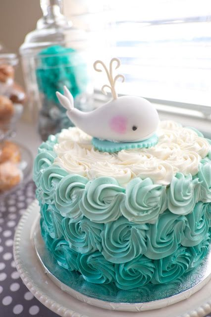 Whale themed baby shower ombre cake