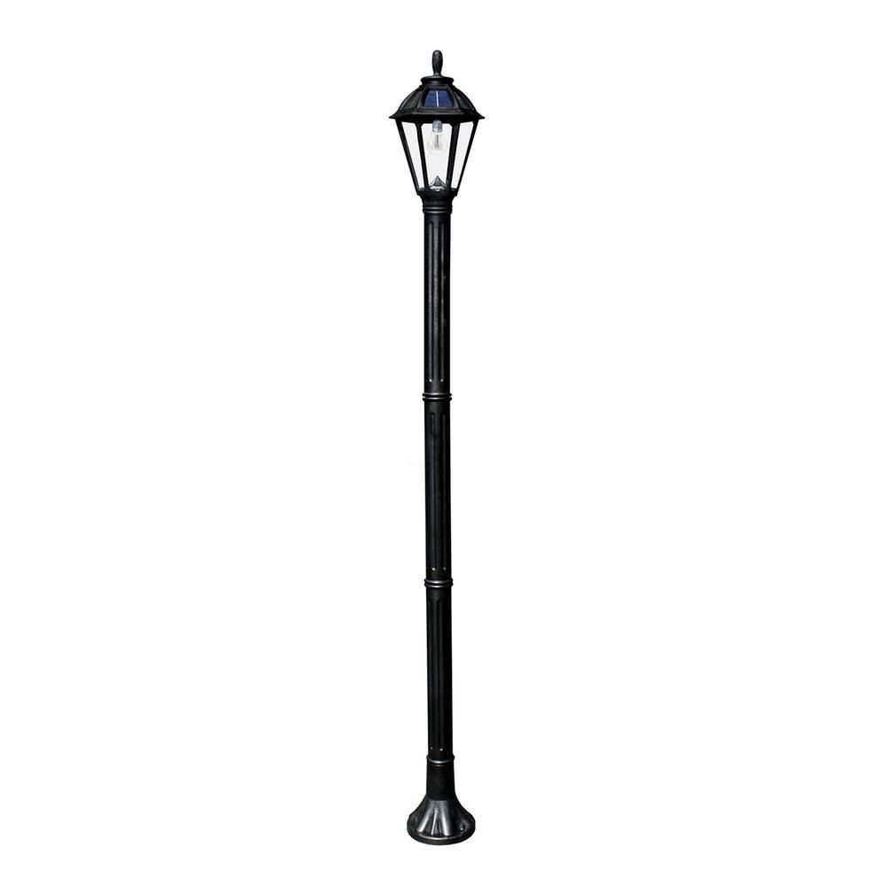 Gama Sonic Polaris Solar Medium 1 Light Black Resin Led Outdoor Post Light And Lamp Post With Warm White Gs Led Bulb Gs 178s Blk The Home Depot Outdoor Post Lights Post Lights Solar