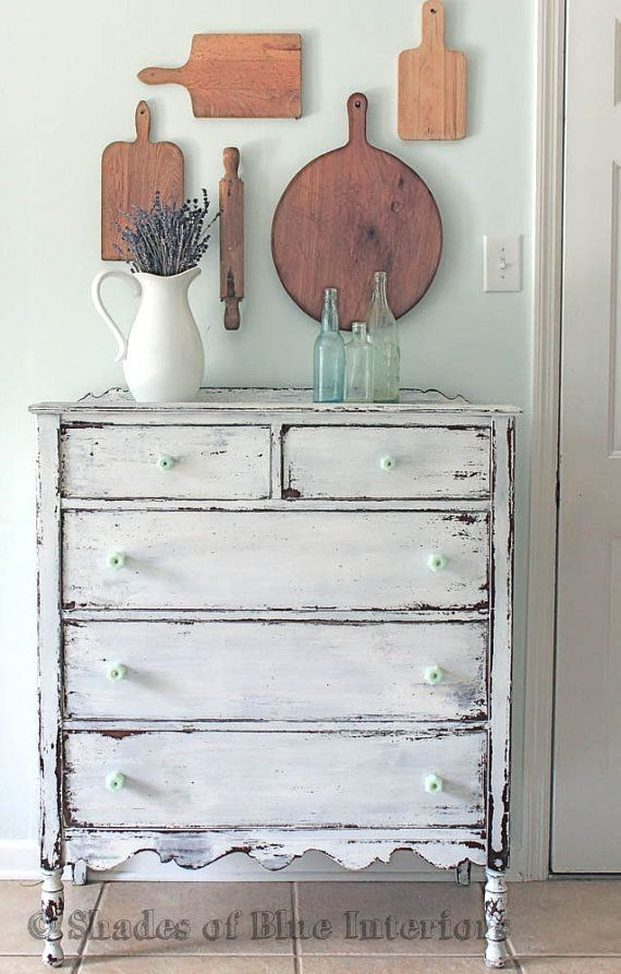 White Chippy Highboy Chest of Drawers Dresser with Jadite Knobs