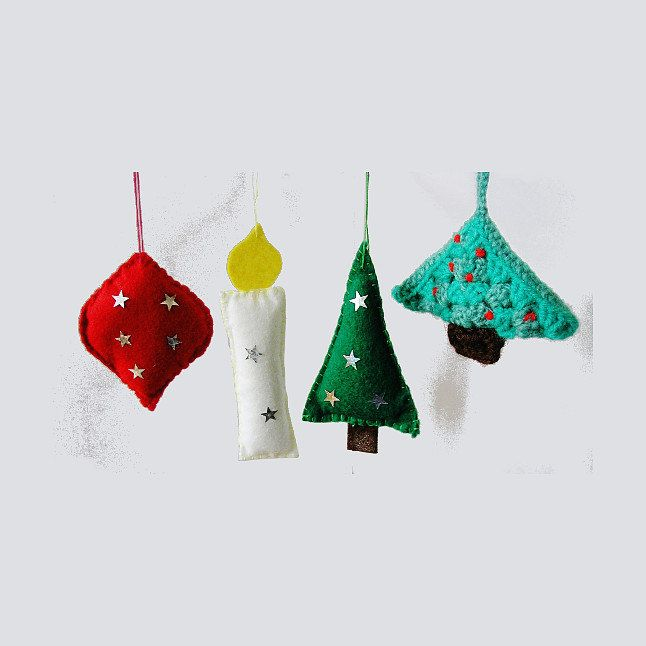 4 vintage irish handmade christmas baubles holidays ornaments from 1980s tree decorations candle trees heart from ireland by theirishbarn on etsy