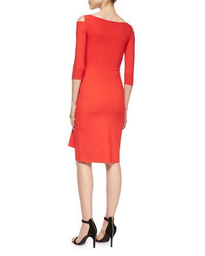 TA96N La Petite Robe di Chiara Boni Stefania 3/4-Sleeve Cold-Shoulder Ruched Dress