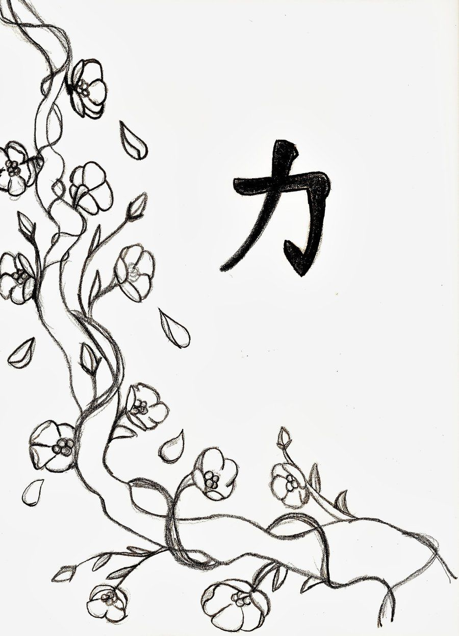 cherry blossom line drawing - Cherry Blossom Tree Coloring Pages