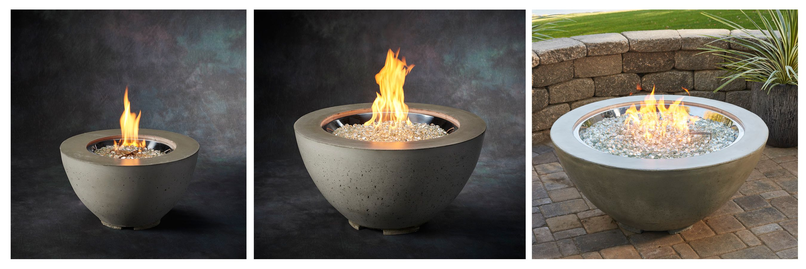 three sizes of fire pit bowls to group together would look great