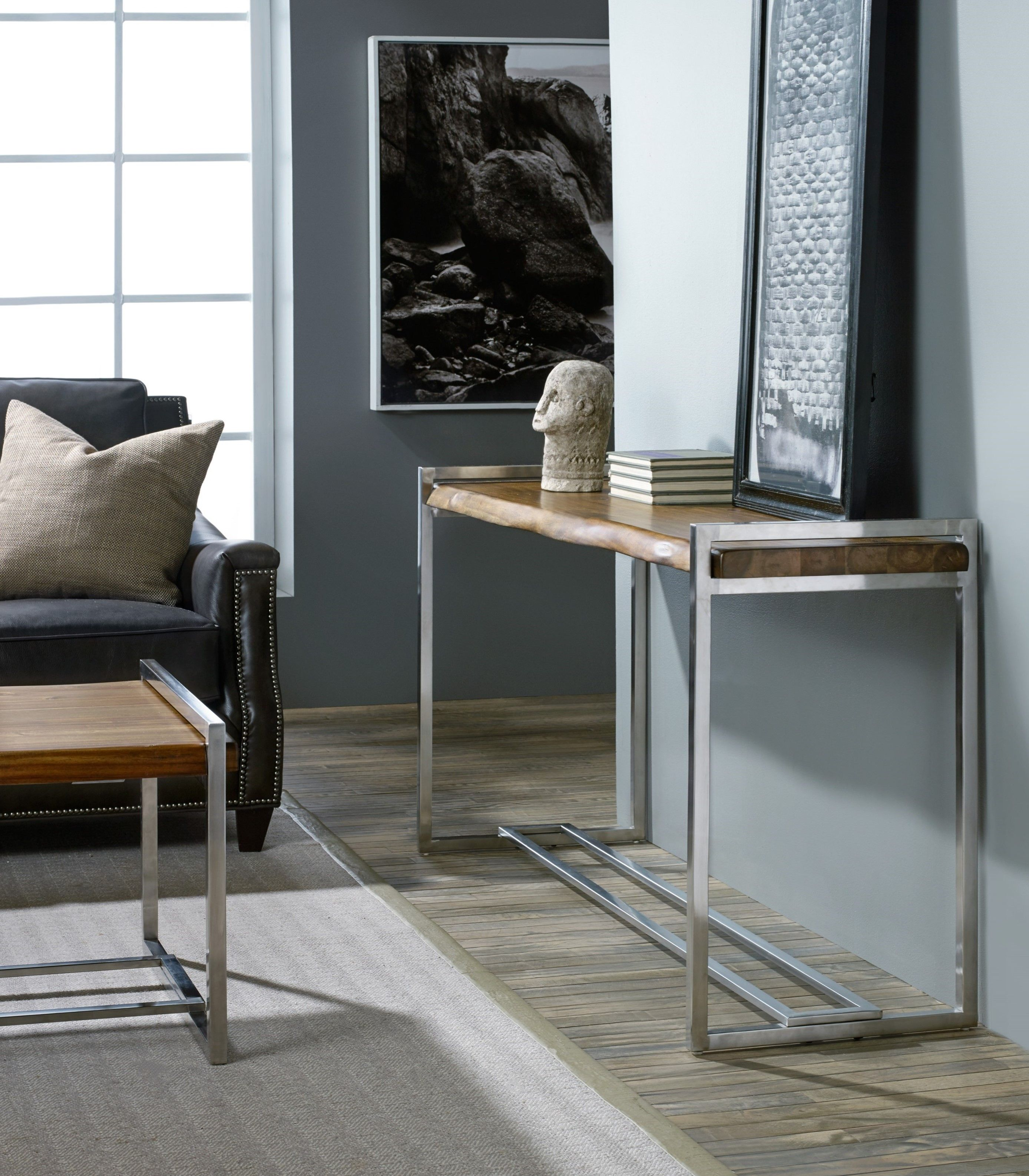 This console table takes the best of industrial and rustic styles as