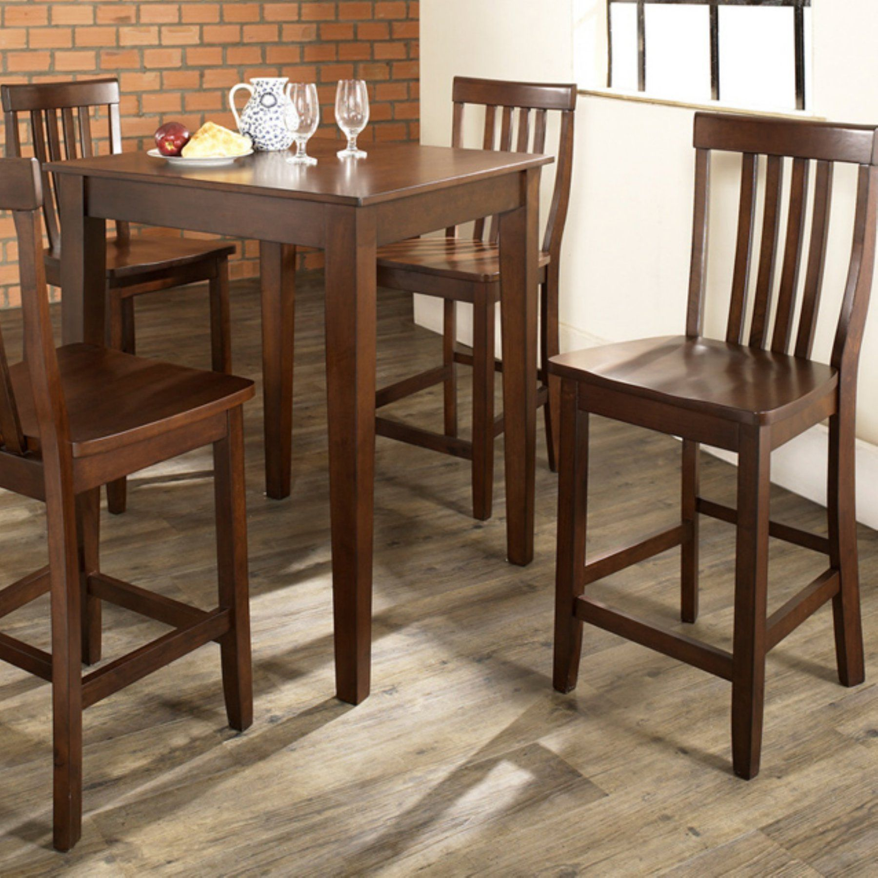 Crosley 5 Piece Pub High Dining Set with Tapered Leg and School
