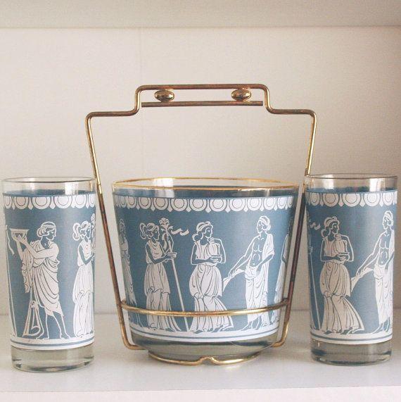 jeannette corinthian glasses ice bucket caddy mid century set