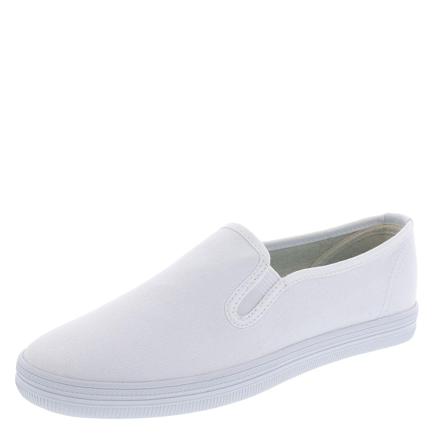 white slip on gym shoes