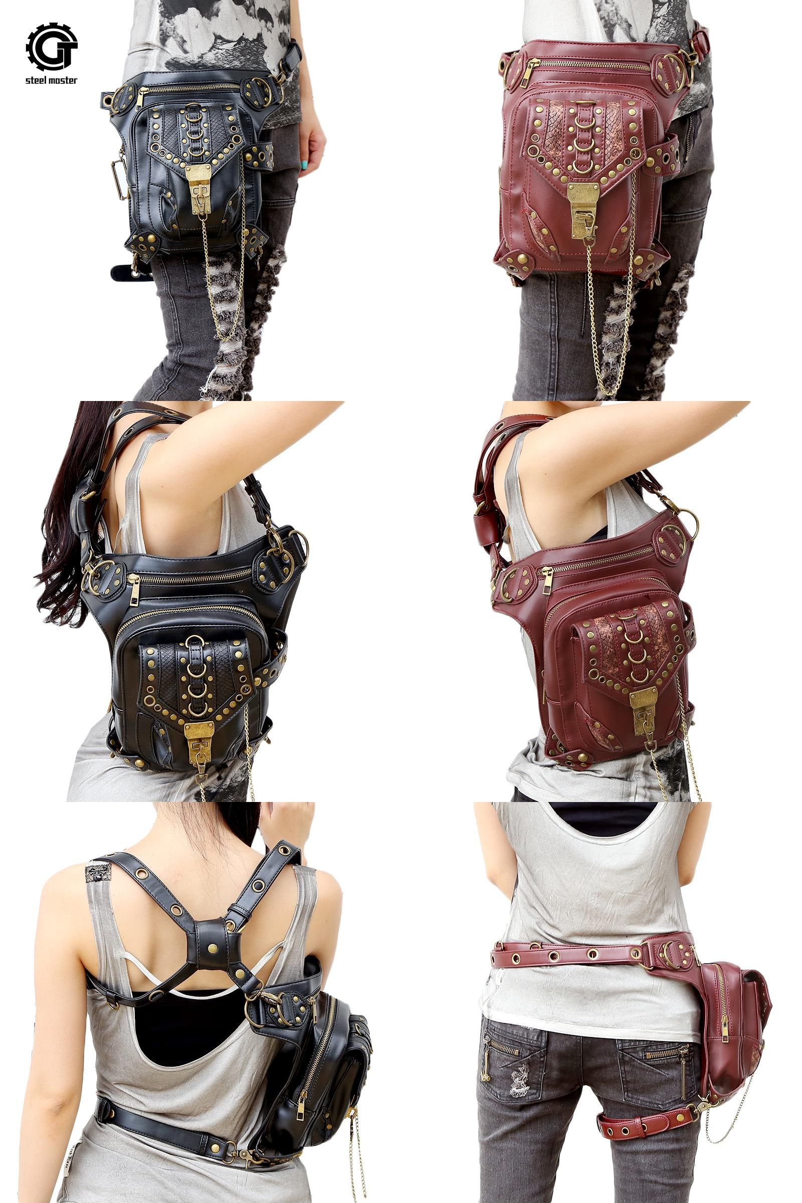 [Visit to Buy] Steampunk Waist Bag Exclusive Retro Rock Gothic Bag Packs Shoulder Bag Vintage Men Women Leather Leg Bag 2017 #Advertisement