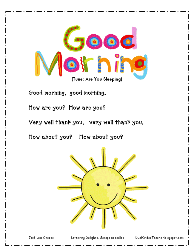 Good morning song teaching print outs pinterest preschool good morning song transition songs for preschool hello songs preschool hello song for kids m4hsunfo