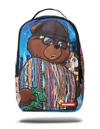 SPRAYGROUND BIGGIE BEAR RAP HIP HOP SINGER URBAN SCHOOL BOOK BAG BACKPACK B634