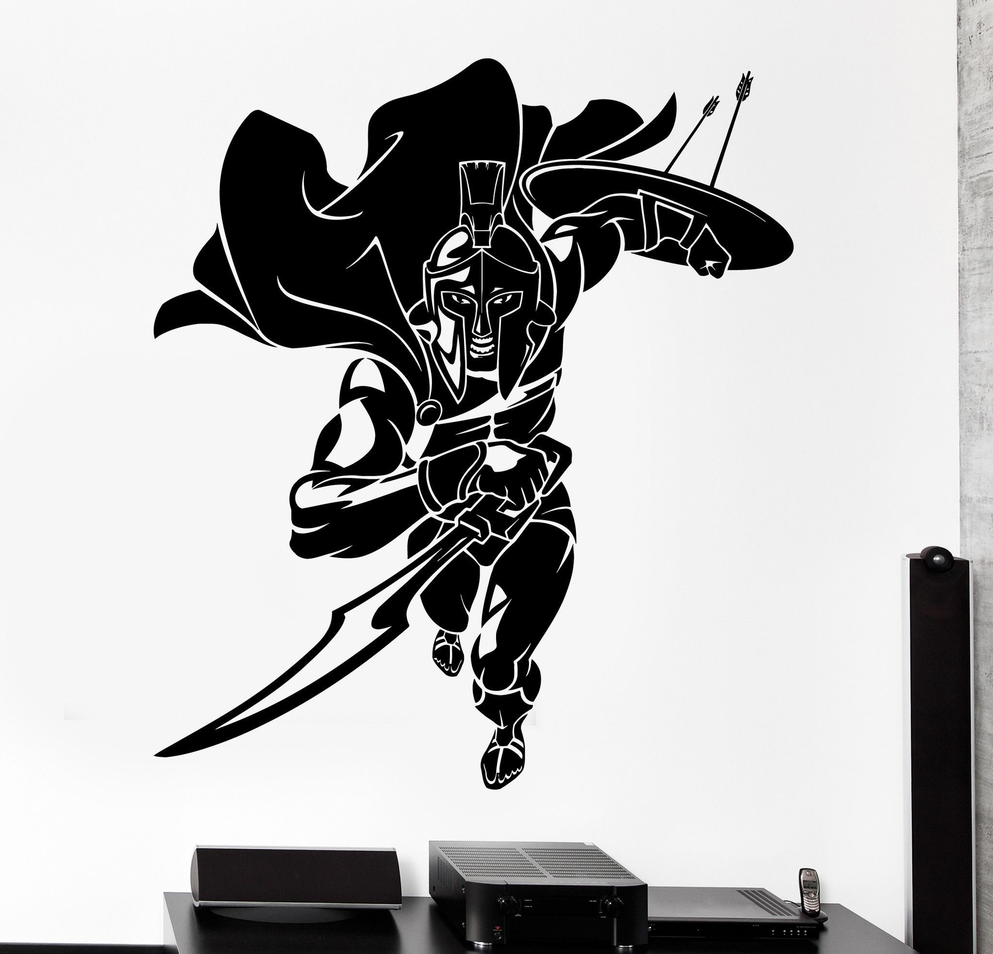 Wall Vinyl Decal Sparta Spartan Warrior Soldier Fighting Home - How to make vinyl decals at home