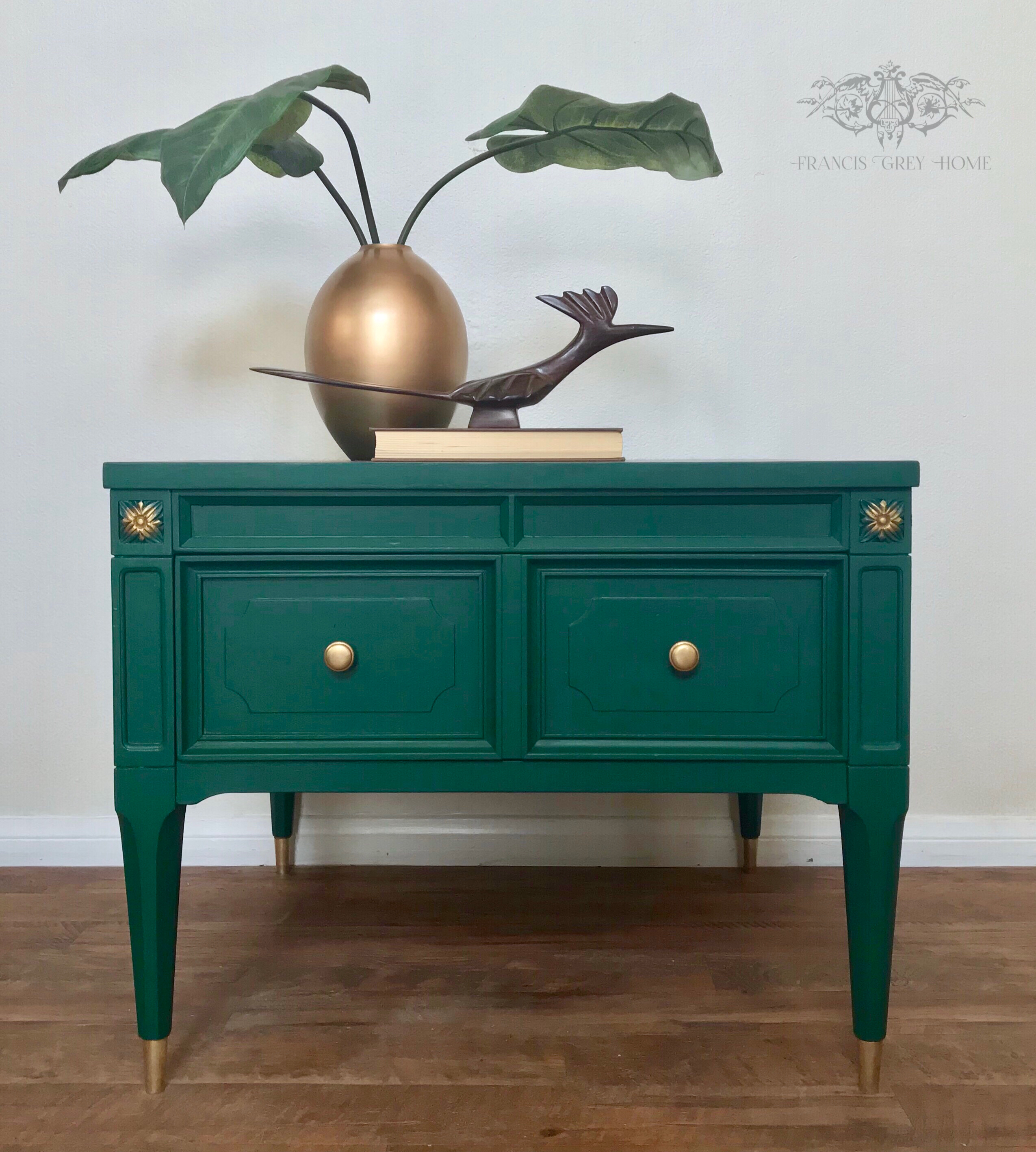 Mcm End Table Painted Mcm Mid Century Modern Emerald Green Mcm