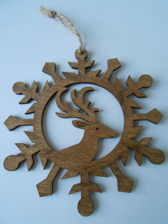 reindeer wood ornament laser cut christmas holiday by finegrained