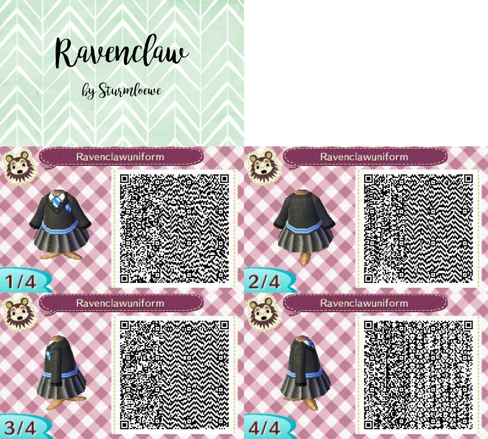 Animal Crossing New Leaf Qr Code Harry Potter Ravenclaw Uniform Dress Black And Blue Outfit For Acnl De Animal Crossing Animal Crossing Game Animal Crossing Qr