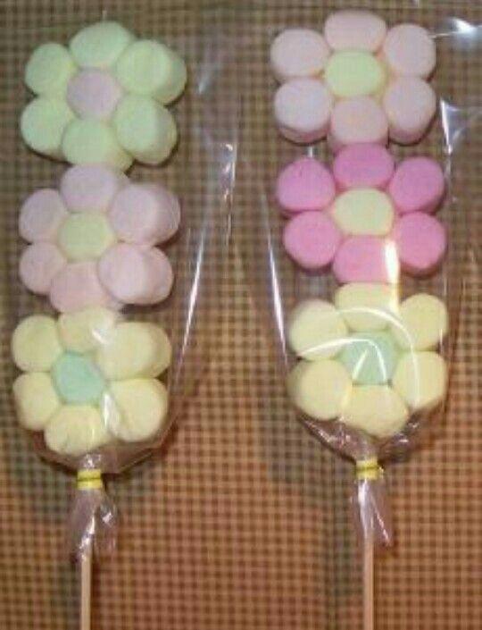 Flower marshmallow pops crafts Pinterest Flor, Dulces y Mesas