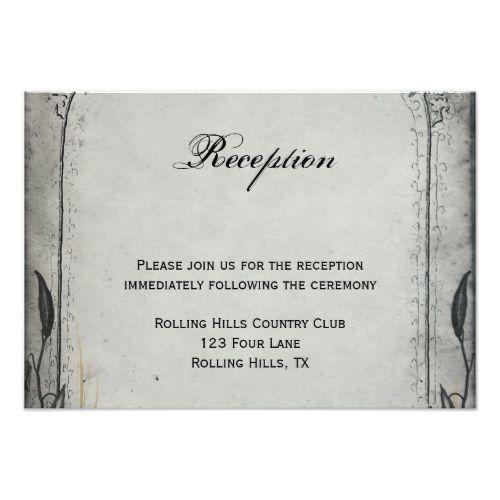 Gothic Wedding Invitations Gothic Black Rose Trellis Wedding Reception Card