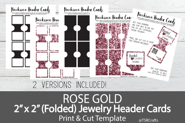 Jewelry Header Cards For Necklace Rose Gold 154799 Customizable Templates Design Bundles Rose Gold Necklace Rose Gold Template Design