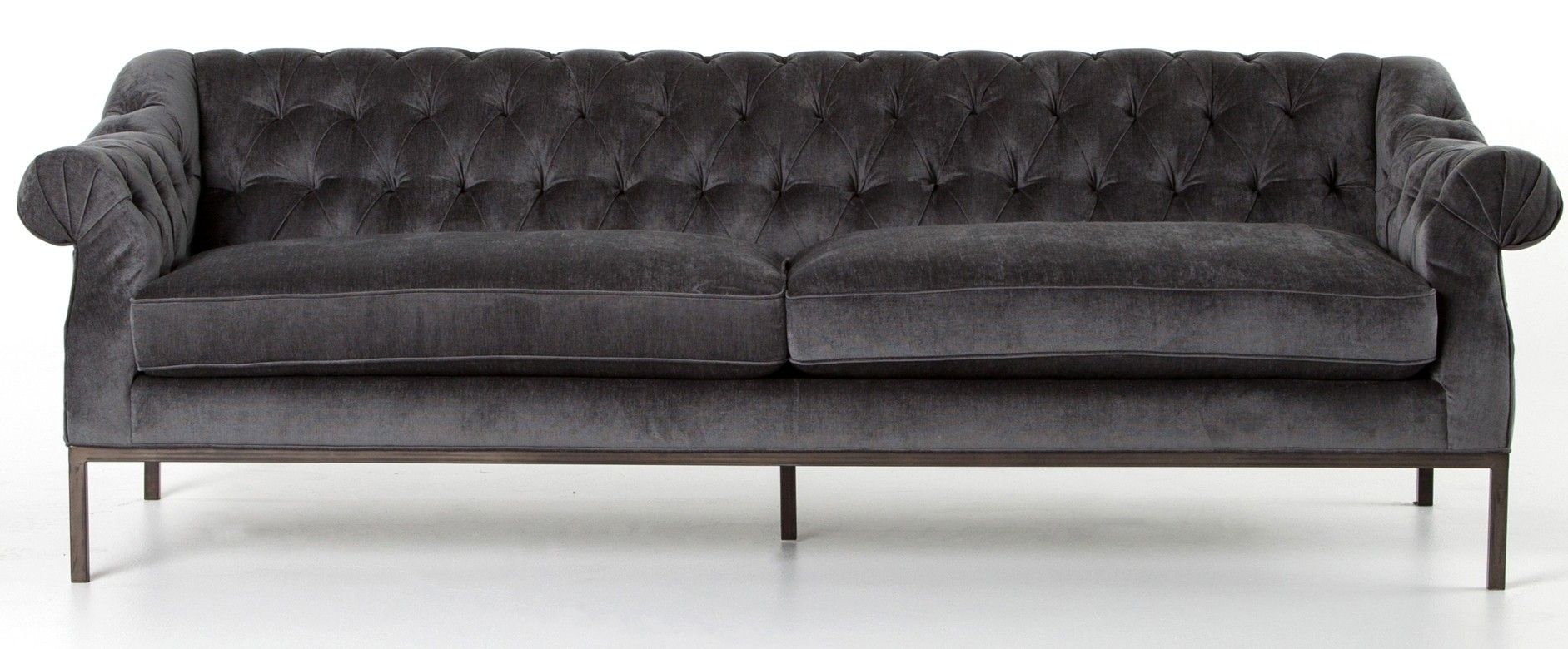 loft charcoal sofa bed leather sectional with sleeper cristine velvet midcentury barbizon pinterest beautiful brings a luxe look to this tufted complete black iron legs and curved arms for traditional meets contemporary style