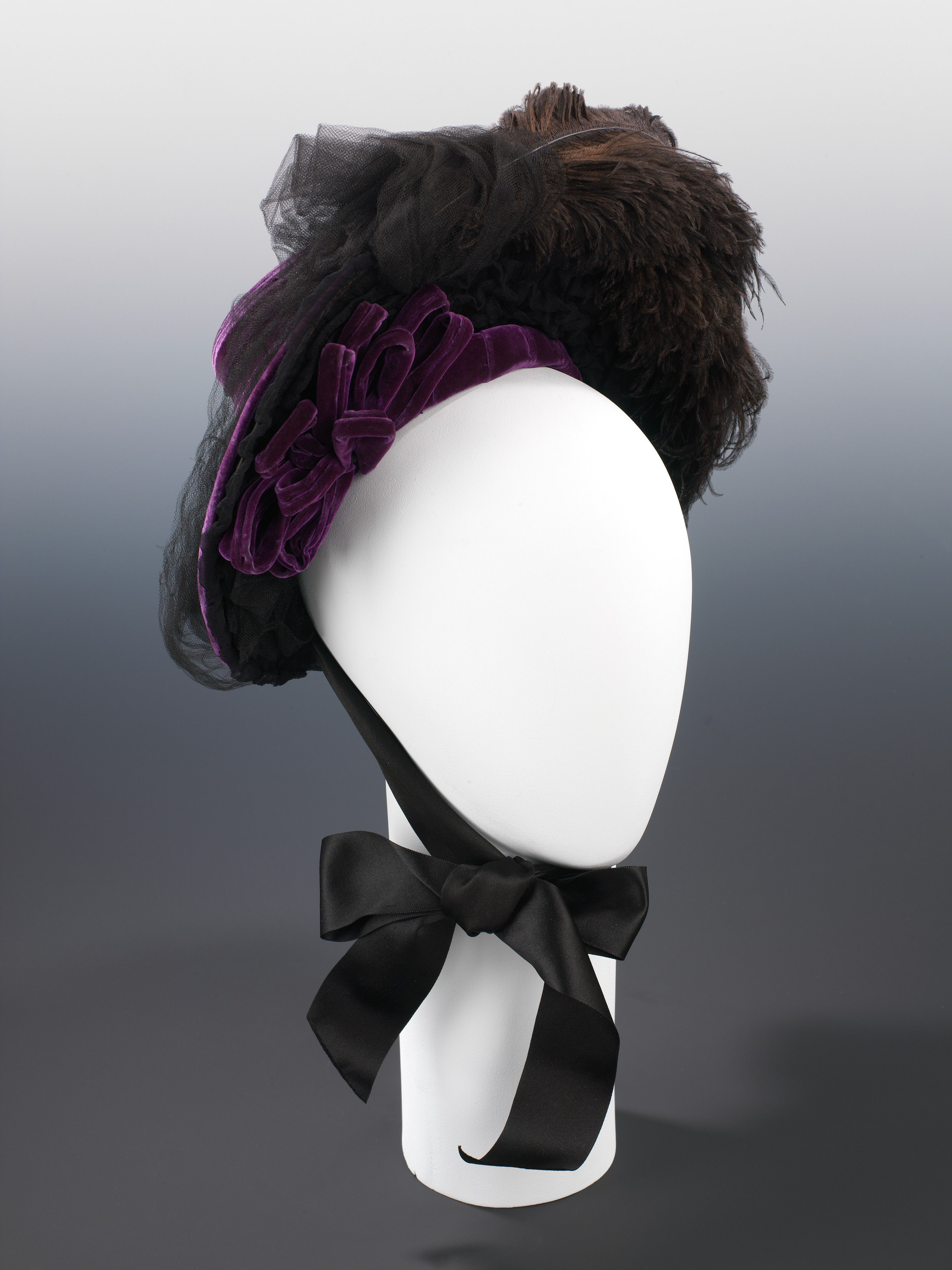 """Half-Mourning Hat, West's (American, founded 1853): ca. 1888, American, silk/feathers. Marking: Label: """"West's/Brooklyn"""""""