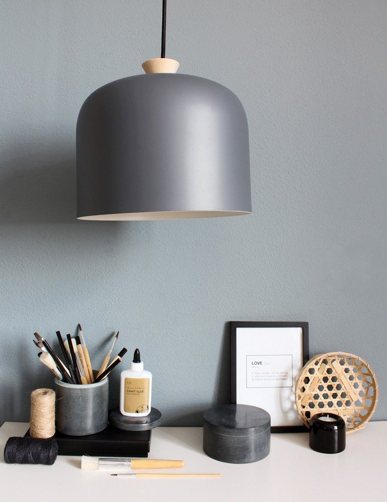 Moderne grijze hanglamp houten opzetstuk Industriële lampen - moderne wohnzimmerlampen