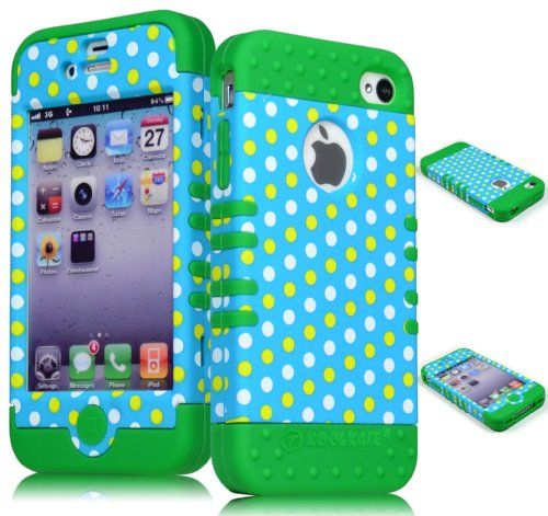 Bastex Heavy Duty Hybrid Case for iPhone 4, 4s, 4th Generation - Green Silicone / Colorful Polka Dot Design Hard Shell Bastex http://www.amazon.com/dp/B00IDDGMQM/ref=cm_sw_r_pi_dp_qpj8tb1CJE5N9