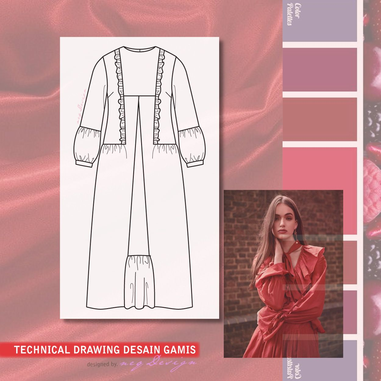 Desain Baju Gamis in 12  Design, Instagram photo, Fashion design