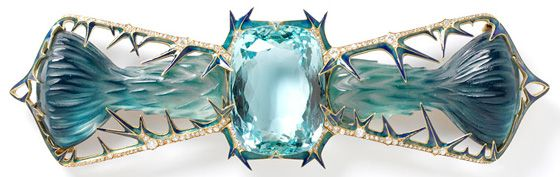 Thistles Designed by Rene Lalique. Glass, gold, aquamarine, and diamonds.