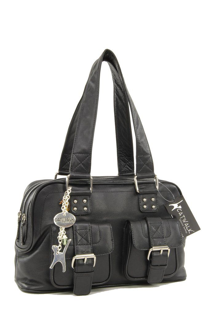 888cccaea279 Catwalk Collection Caroline Bag - Black Leather, Silver Metal Fittings, Cat  Charm. FREE DELIVERY UK Delivery Throughout EUROPE #cats #handbags #black #  ...