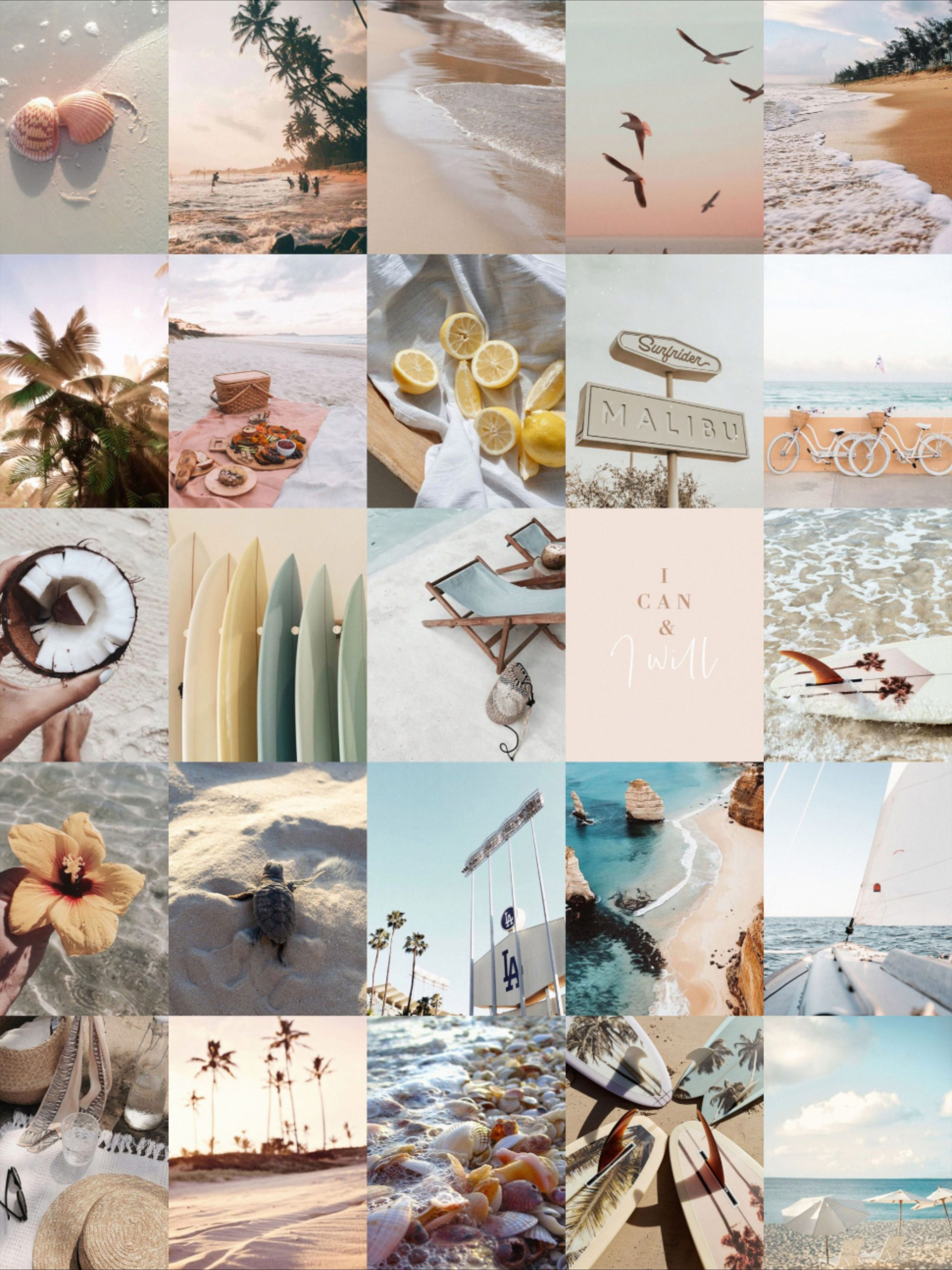 Beach Wall Collage, Summer Vibes, 40 Pcs