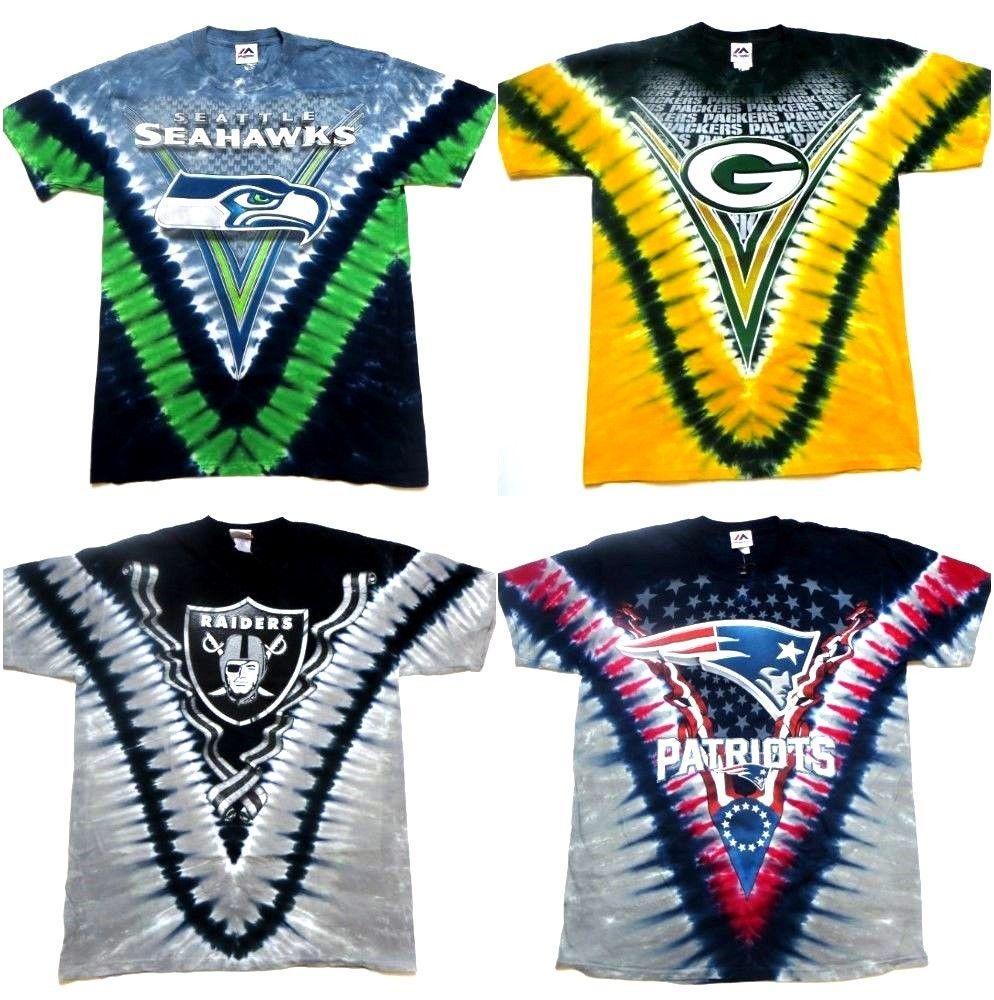 d7380ebd NFL Team LOGO V Tie Dye T-Shirts Seahawks, Raiders, Patriots, Packers #NFL